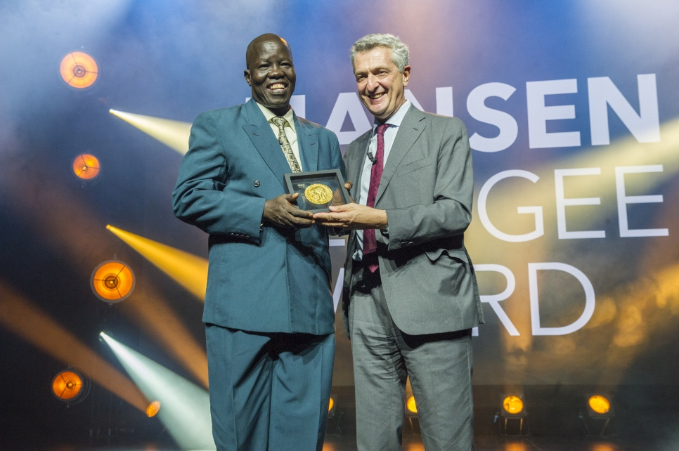 UN High Commissioner for Refugees, Filippo Grandi, presents the 2018 Nansen Refugee Award to Dr. Evan Atar Adaha, a surgeon and medical director at a hospital in north-eastern South Sudan.