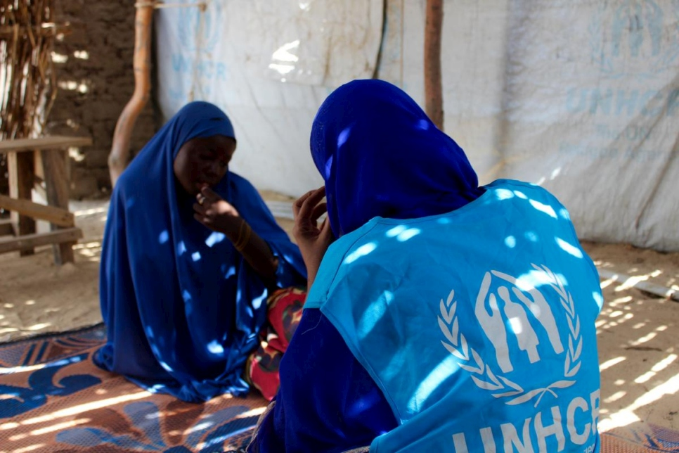 Niger. UNHCR Field Protection staff listens to the story of 14 year old *Aisha, kidnapped and brutalised by Boko Haram