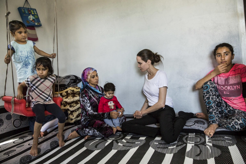 Iraq. Angelina Jolie visits Syrian refugees at Domiz camp