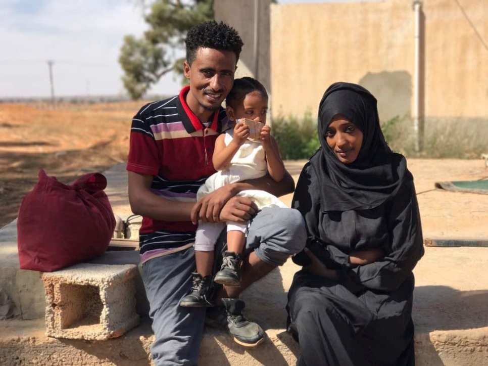 Refugees Mohamed and Mariam seen outside the detention center from where they were evacuated to Niger