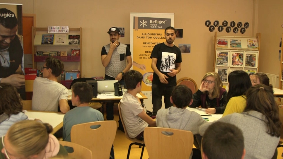 Syrian duo Refugees of Rap taught French schoolchildren how to compose their own raps.