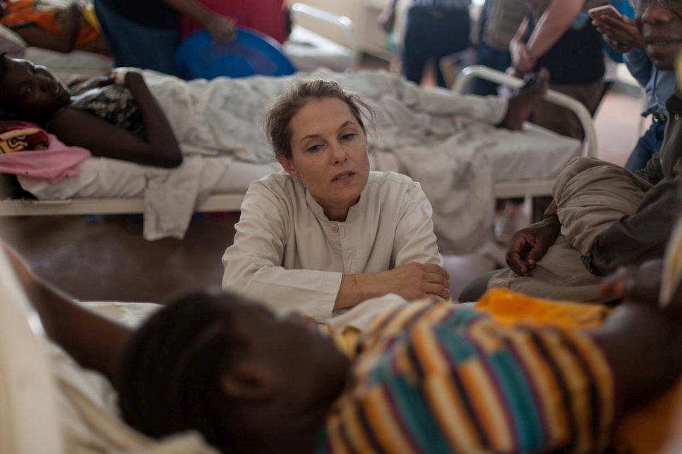 """Every crisis is important and every life is important.""  UNHCR Patron, HRH Sarah Zeid of Jordan, meets a woman who recently delivered a baby boy at the International Rescue Committee hospital in Kakuma 4, Kenya."