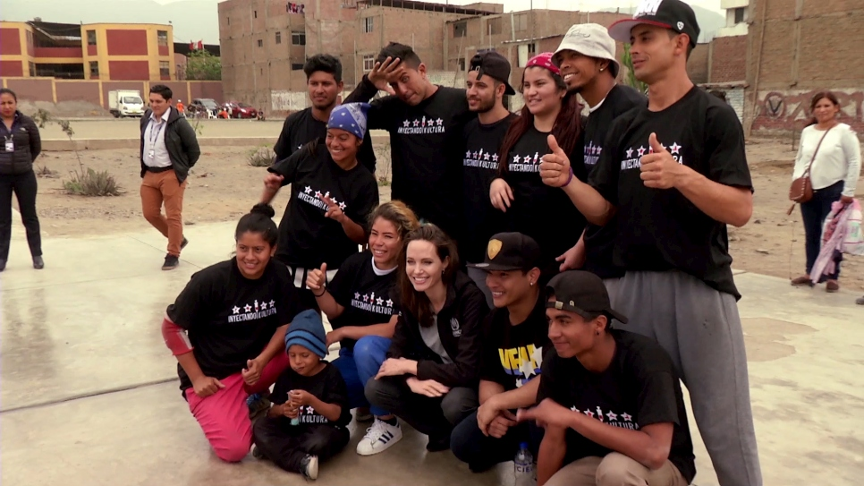 Dancing to survive: Angelina Jolie visits Venezuelan refugee breakdancers in Peru