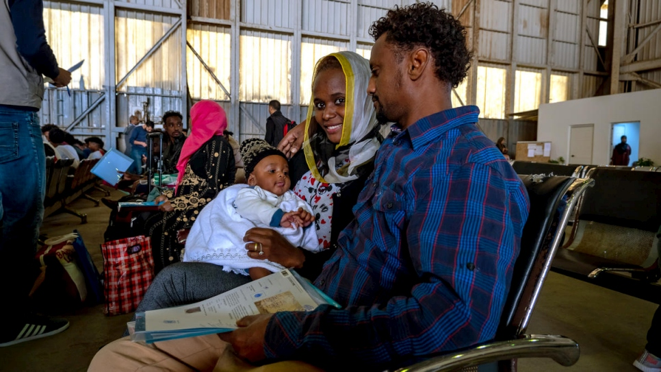 Libya. asylum seekers at Tripoli airport waiting to board on a plane to Niger thanks to UNHCR evacuation program
