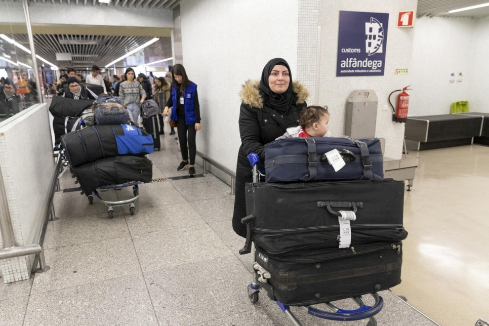 Portugal. Refugees, arrival at Lisbon Airport