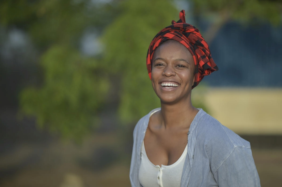 UNHCR Goodwill Ambassador Nomzamo Mbatha pictured at Kakuma refugee camp, Kenya, in June 2018.