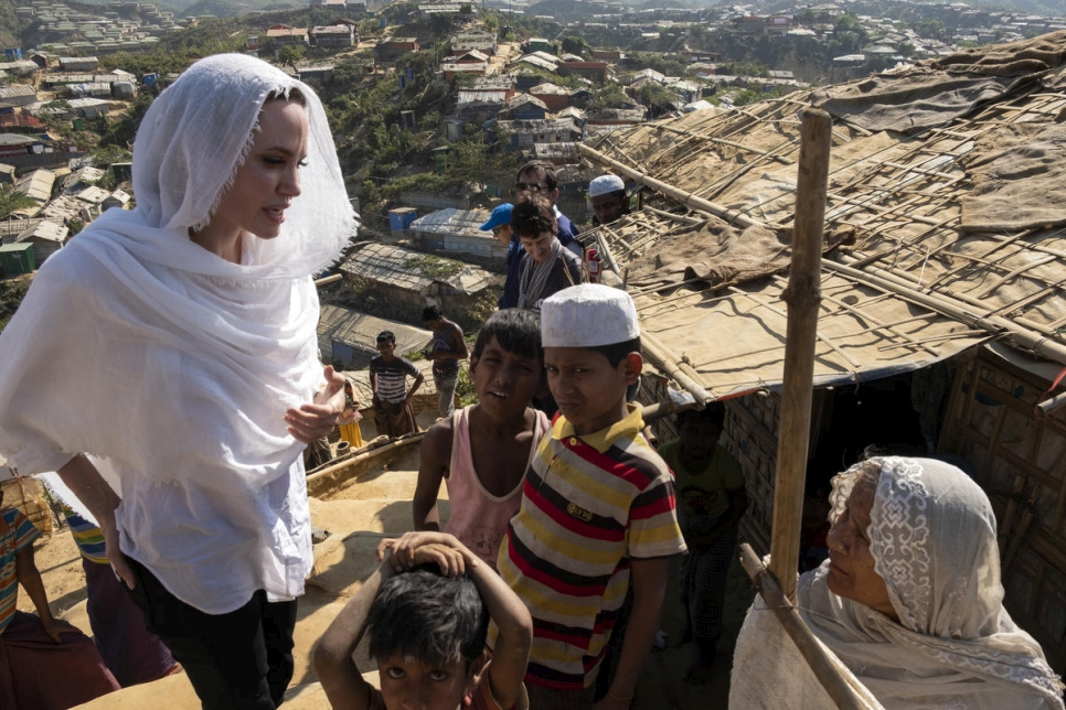 Bangladesh. UNHCR Special Envoy Angelina Jolie visits Rohingya refugees in Chakmarkul camp.