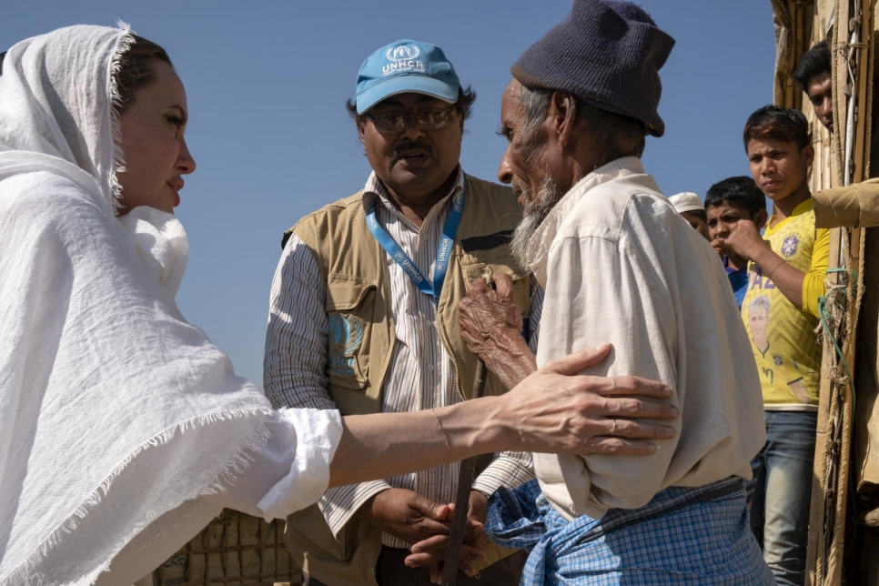 Bangladesh. UNHCR Special Envoy Angelina Jolie visits Rohingya refugees in Chakmarkul camp, Cox's Bazar.