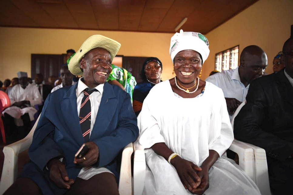A couple from Central African Republic (CAR) celebrate their wedding, along with 20 other refugee and Cameroonian couples, officiated by the mayor of Kentzou.