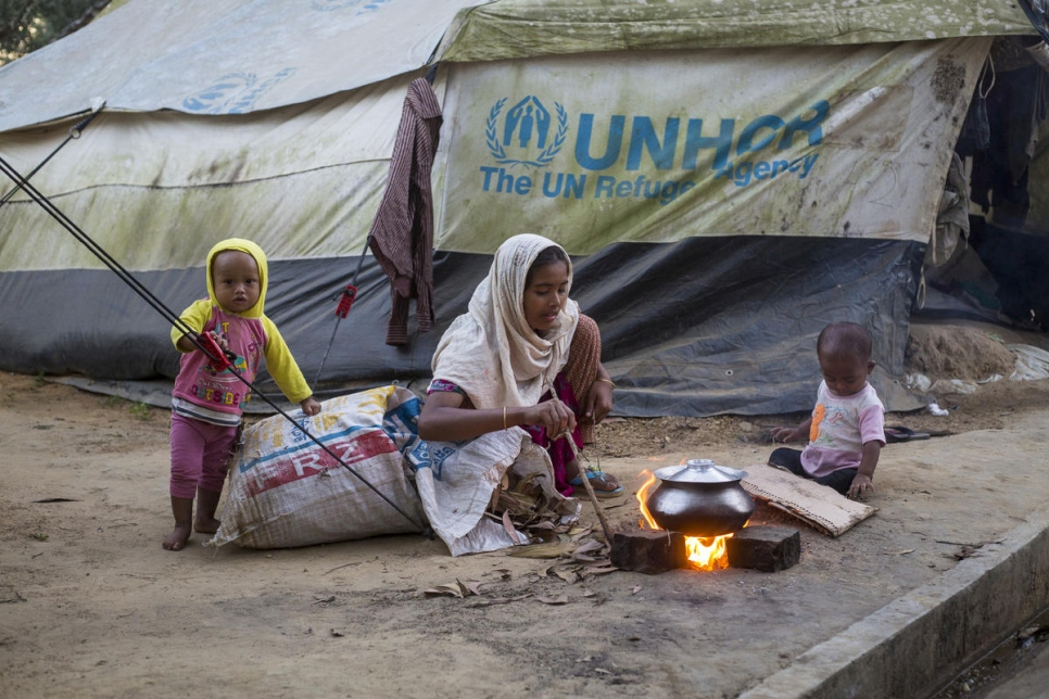 Bangladesh. New arrivals at UNHCR Transit Centre