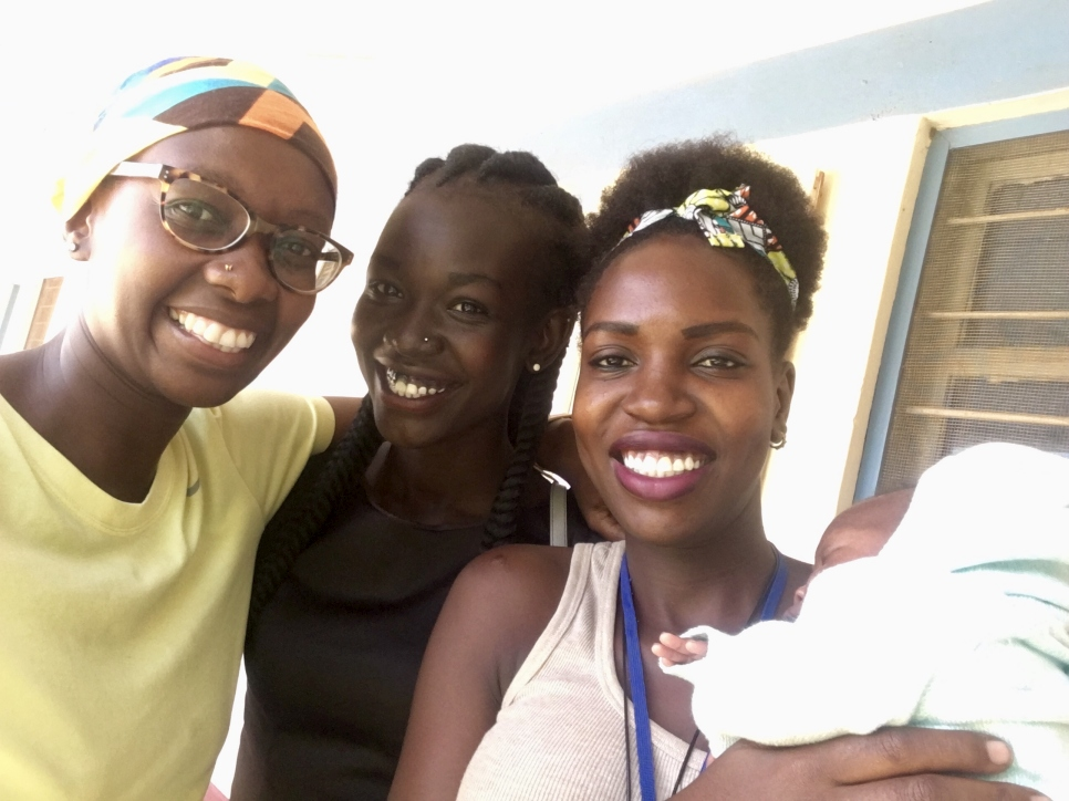 The writer with her South Sudanese friends Mary Maker (centre) and Mercy Akuot.