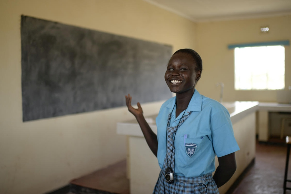 South Sudanese student Esther Nyakong at the Morneau Shepell School for girls in Kakuma, Kenya