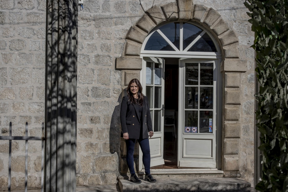 Hotel manager Simona Pulcinelli stands in front of the Villa Perast.