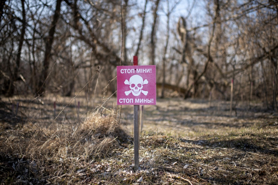 Ukraine. A warning sign for landmines in the Donbas area