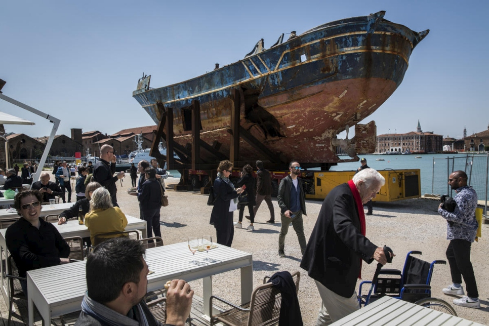 Venice. Mediterranean shipwreck at the Venice Biennale