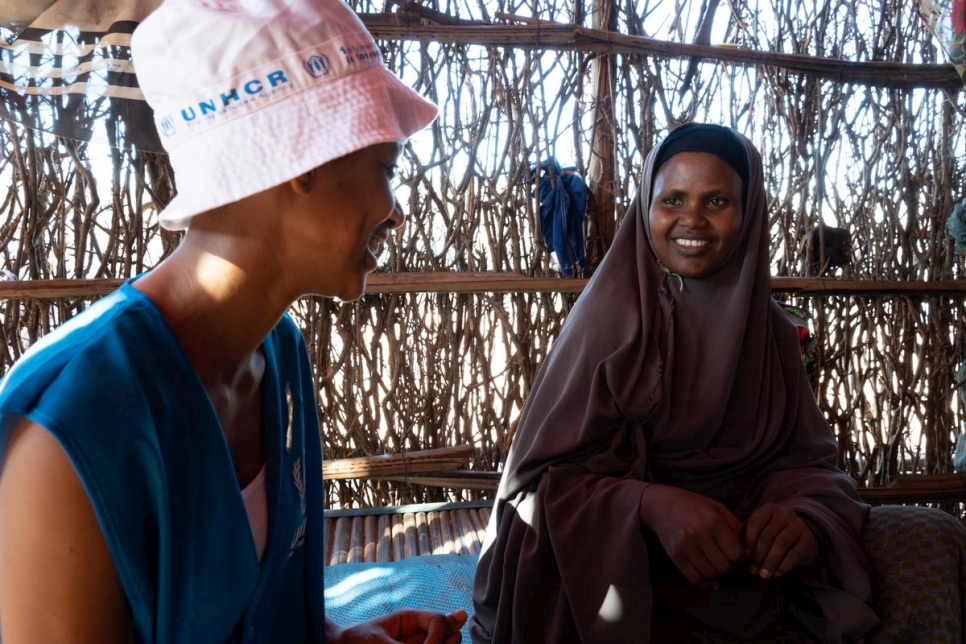 Newly appointed Goodwill Ambassador Betty G, speaks with Somali refugee Hibo Abdi in Melkadida, Ethiopia.
