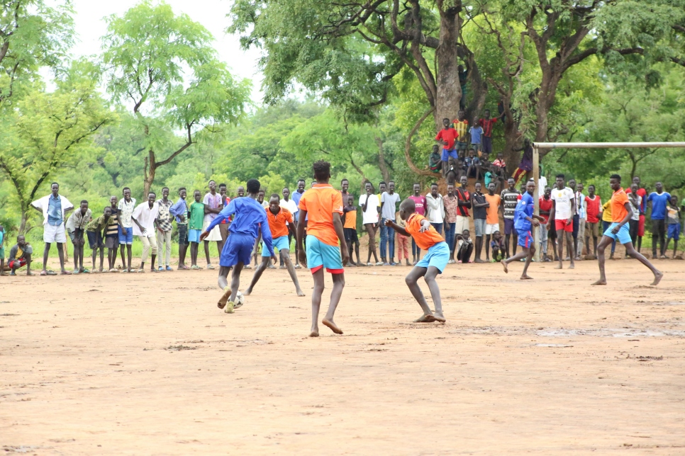 Crowds gathered to watch a friendly match between refugees and Ethiopians in Jewi, Ethiopia.
