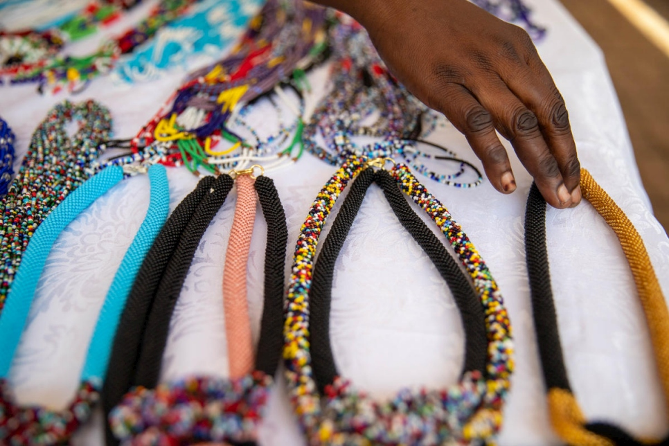Refugees displayed and sold beaded goods at the World Refugee Day celebrations in Juba, South Sudan.
