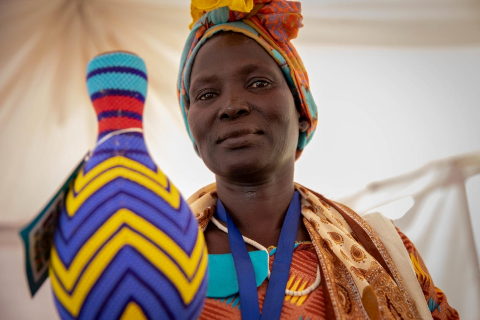 An Ethiopian refugee displays a beaded item on display at the World Refugee Day celebrations in Juba, South Sudan.
