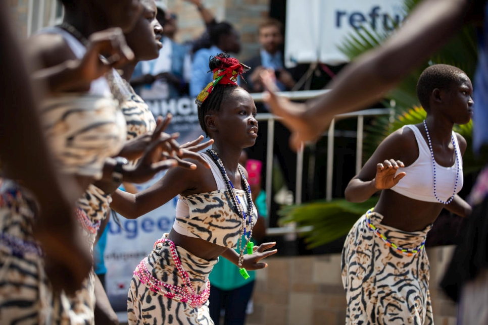 An Acholi dance group performs at the World Refugee Day celebrations in Juba, South Sudan.