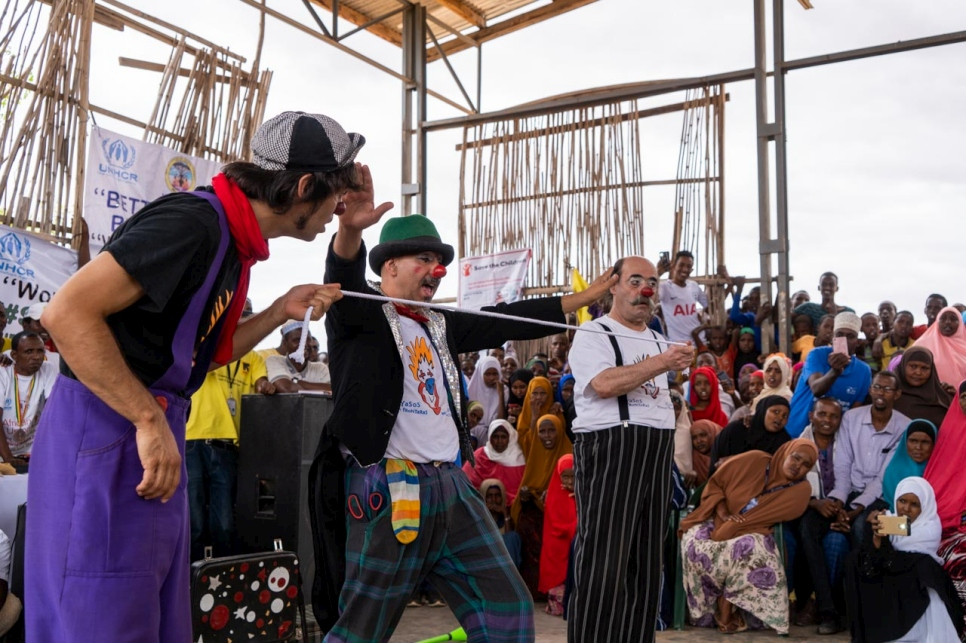 The Clowns Without Borders visited Melkadida camp in Ethiopia and performed tricks in front of thousands of refugees for World Refugee Day.