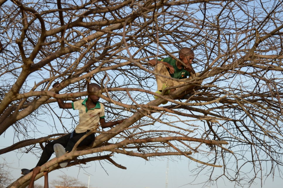 These refugee boys watch from their vantage point, as World Refugee Day festivities unfold in Goudoubo camp, Burkina Faso.