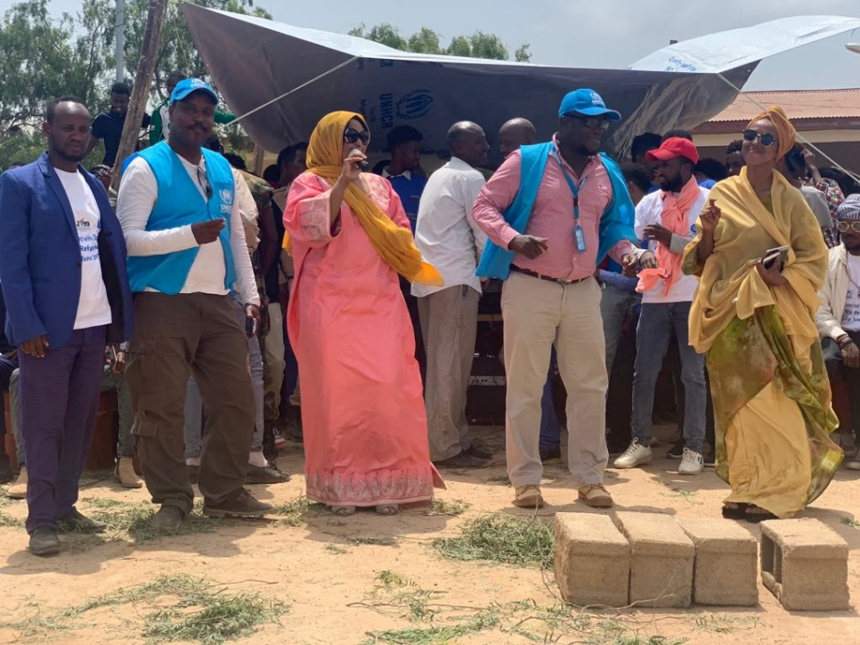 Somali singer Yurub Geenyo (in pink) performs at the World Refugee Day event in Kebribeyah camp in the Somali region of Ethiopia.