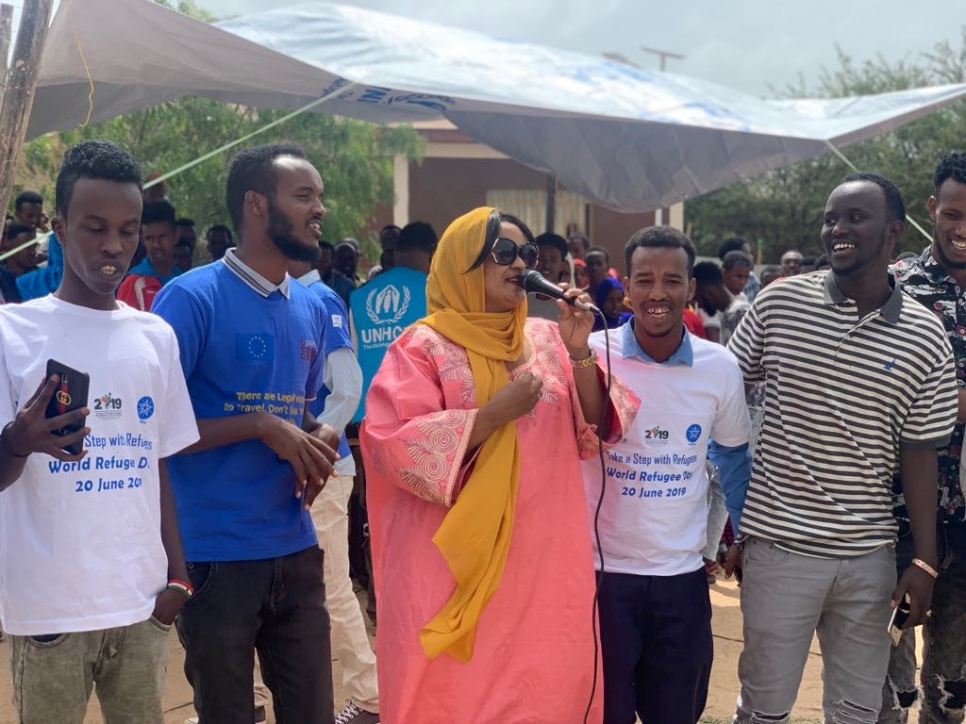 Somali singer Yurub Geenyo (in pink) performs at World Refugee Day event in Kebribeyah camp in the Somali region of Ethiopia.