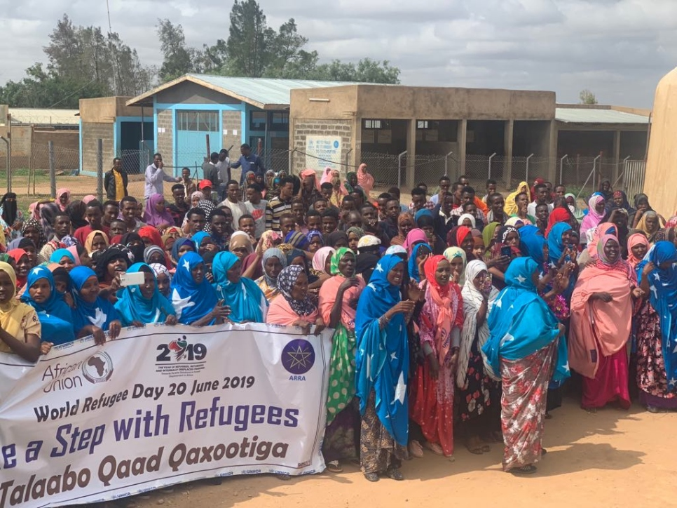 Somali refugees sing and dance at the World Refugee Dy event in Kebribeyah camp in the Somali region of Ethiopia.