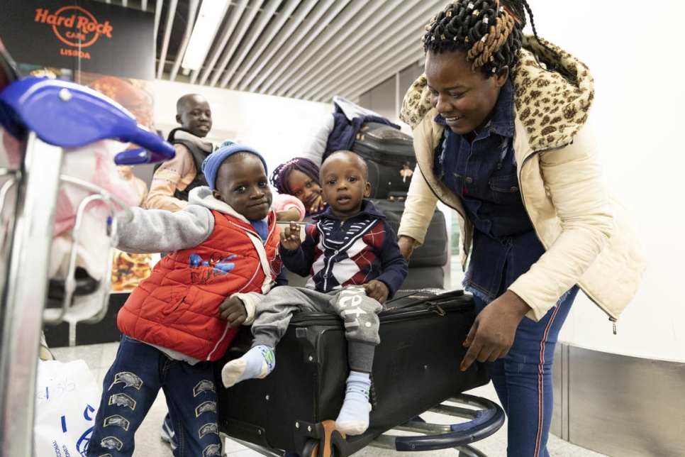 Portugal. Resettled refugees arrive in Lisbon