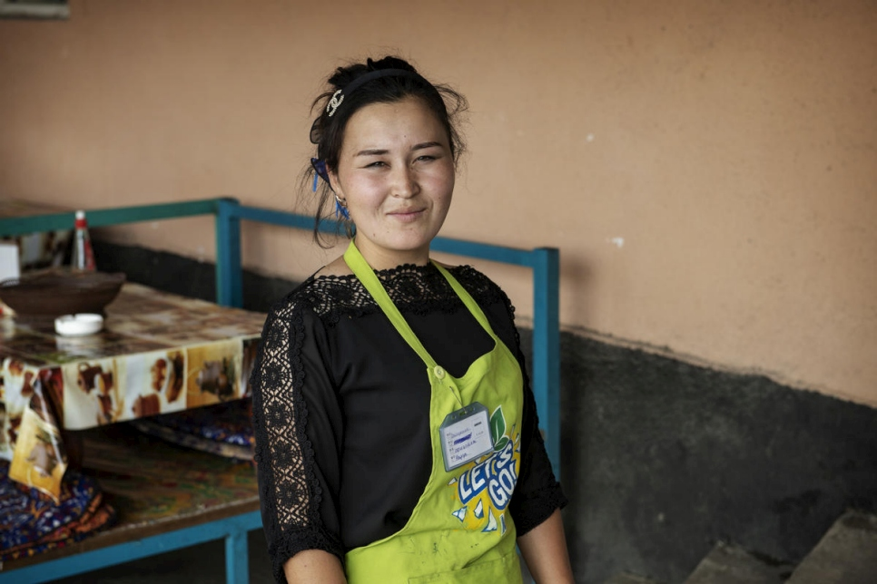 Kyrgyzstan. Portrait of Nazgul Avaz, 22, a formerly stateless young woman who is now working in a cafe