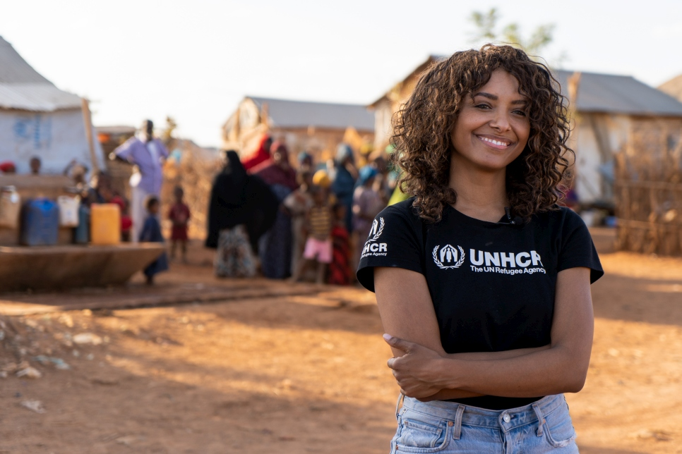 UNHCR High-Profile Supporter Kat Graham visits refugees in Melkadida camp, Ethiopia