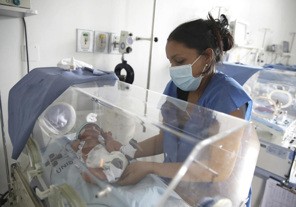 Yonielys Villegas cares for her son Enmanuel at the main maternity hospital in Bogota, Colombia.