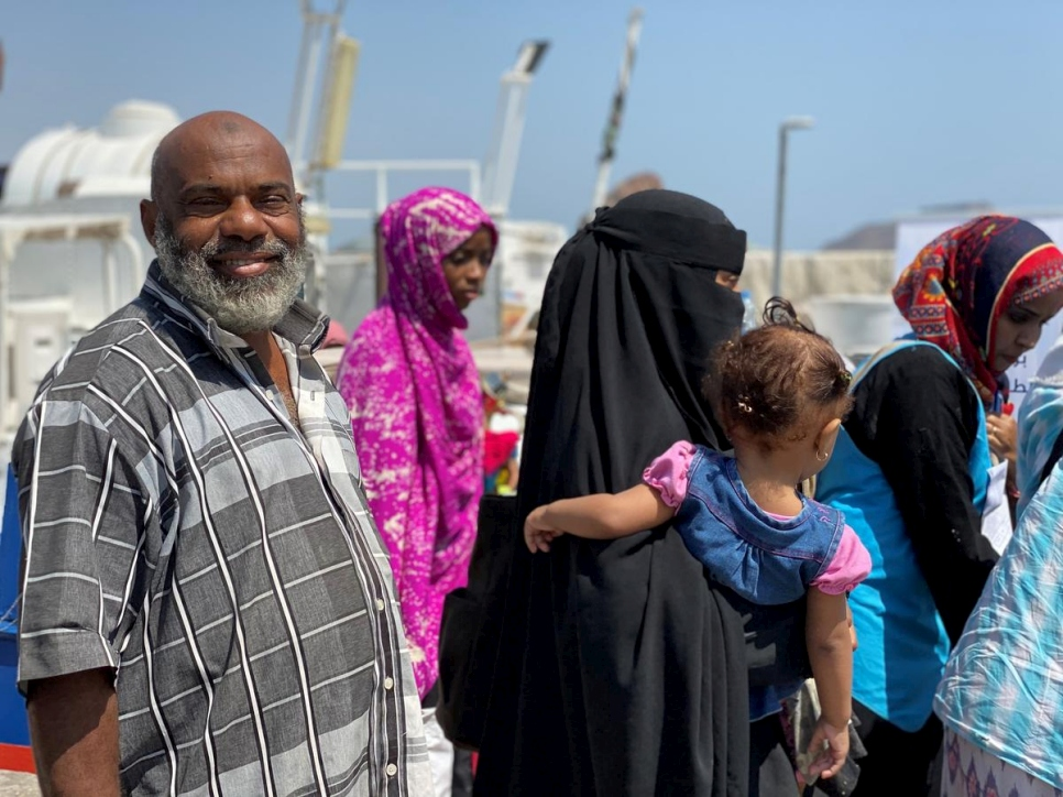 Yemen. Suliman, 67, a refugee from Somalia return home from Yemen