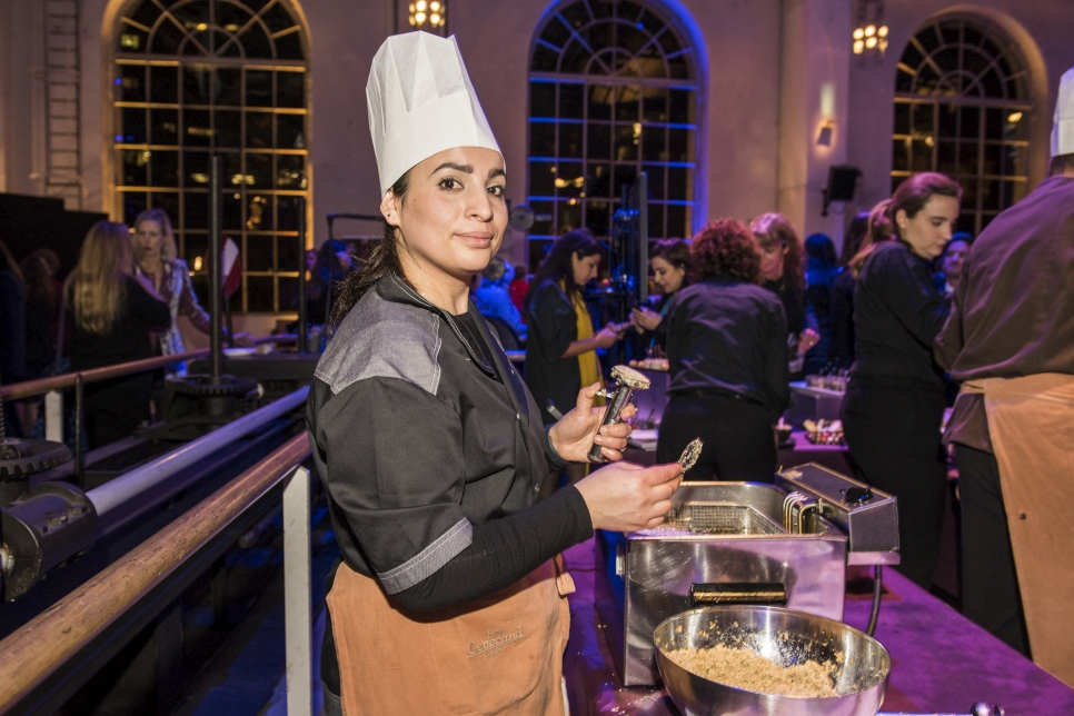 Jenan Hamza, a Syrian-Kurd. is the chef for the 2019 UNHCR Nansen Refugee Award ceremony reception.