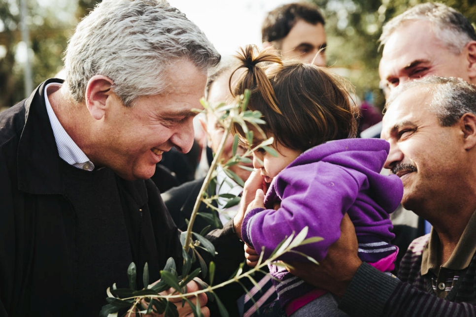 Greece. The UN High Commissioner for Refugees Filippo Grandi visits the island of Lesbos