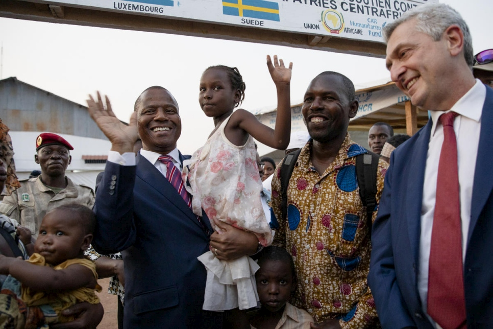 Central African Republic. The UN High Commissioner for Refugees smiles as returnees arrive in the Central African Republic
