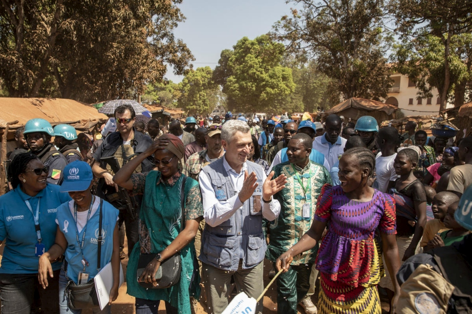 Central African Republic. The United Nations High Commissioner for Refugees arrives to an internally displaced people site
