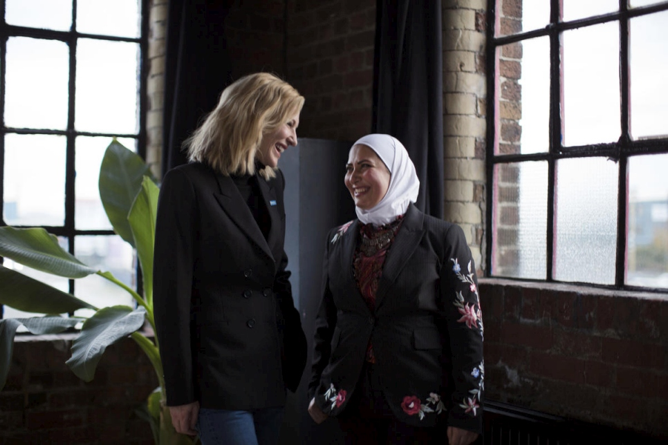 London. UNHCR Goodwill Ambassador Cate Blanchett with Razan Alsous, a refugee from Damascus, Syria, and Founder of Yorkshire Dama Cheese