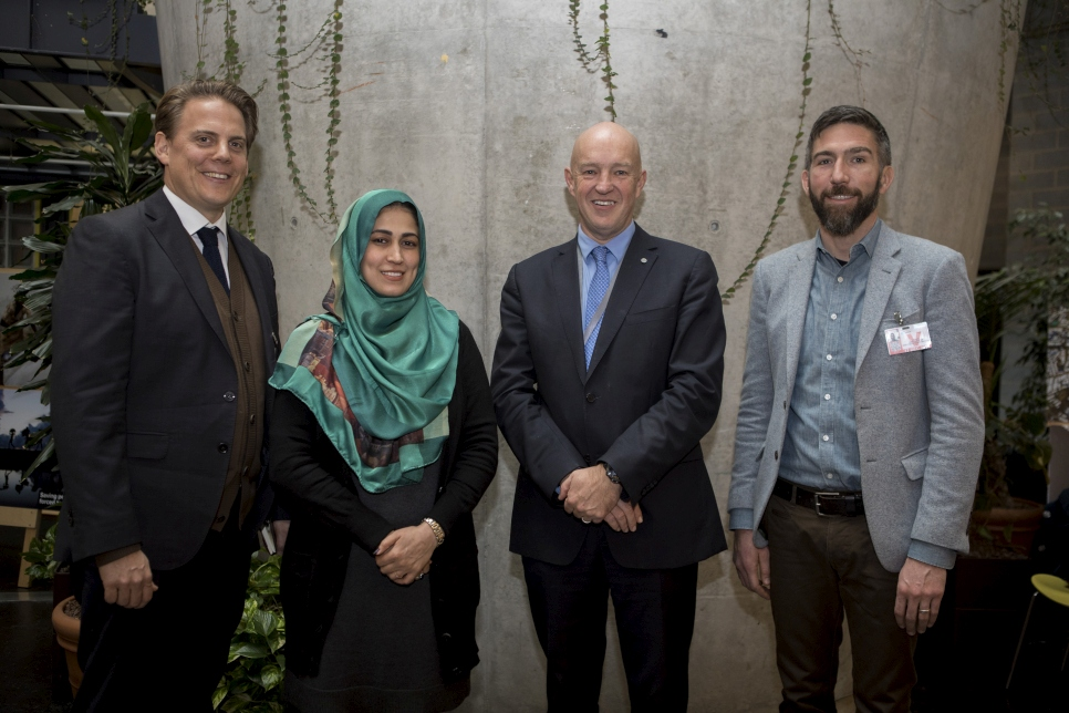 (L-R) CEO Better Shelter, Johan Karlsson, Global Youth Council Advisory Council member,  Safia Ibrahimkhel, UNHCR's Director of Division of Program Support and Management, Andrew Harper and Executive Director Autodesk, Joe Speicher at the Nobody Left Outside Global Shelter Campaign Cultivation Event.