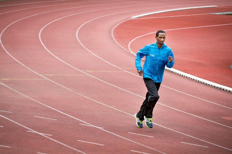 Luxembourg. Ethiopian marathon runner Yonas Kinde trains for Rio 2016 Olympic Games
