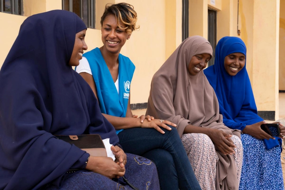 Betty G speaks with refugee students she met at the College of Teacher Education in Melkadida, Ethiopia.