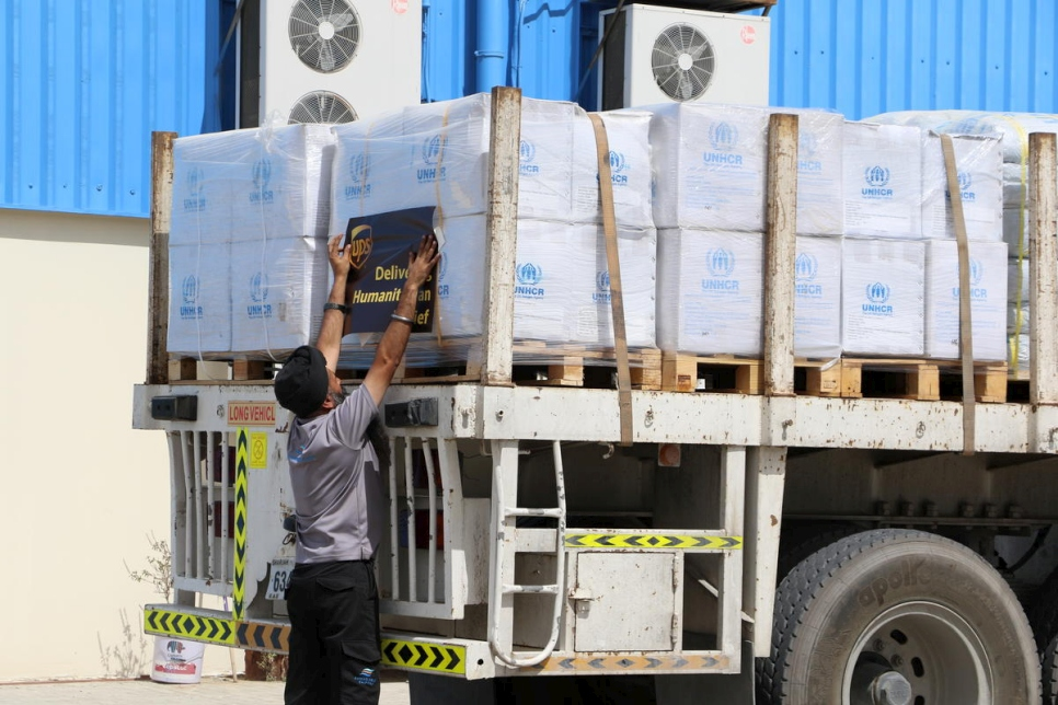 United Arab Emirates. Staff at UNHCR's global stockpile in Dubai prepare an emergency shipment of core relief items be airlifted from Dubai to Chad