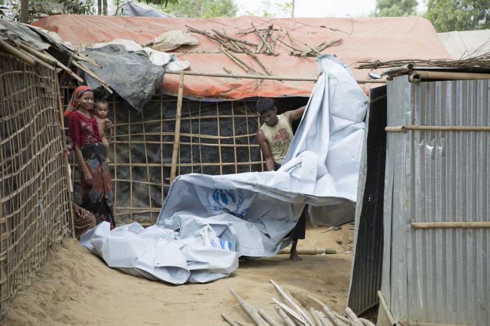 Rohingya refugees prepare their shelters in Cox's Bazar to withstand monsoon rains, March 2018.