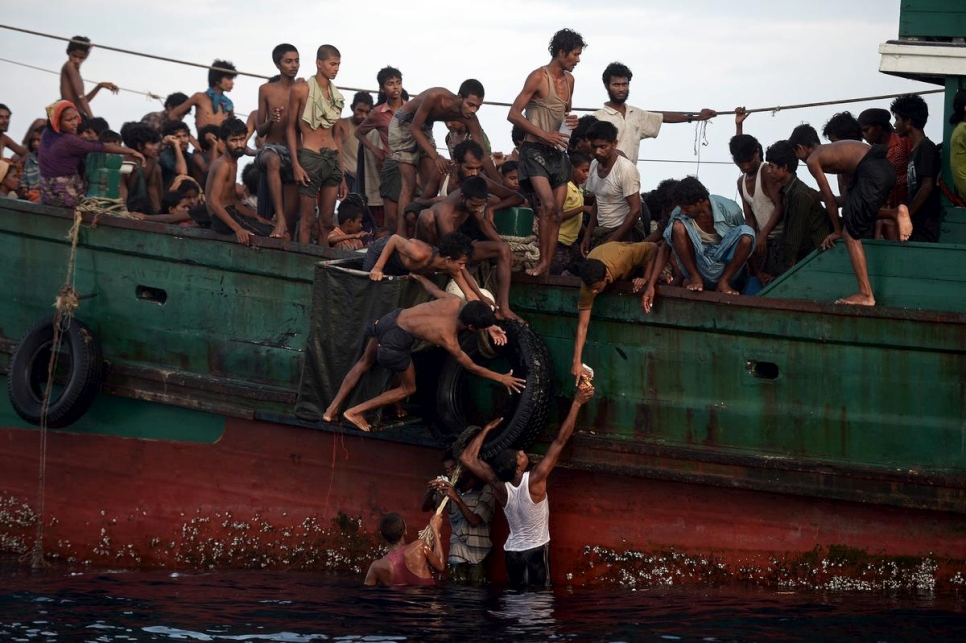 Andaman Sea. Rohingya boat people stranded at sea