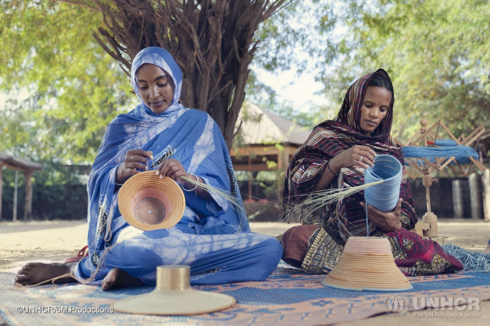 In Burkina Faso, a UNHCR-supported workshop brings together the heritage and unique weaving skills of Tuareg refugee women. Aradiette and Adizata are working on lampshades. They are both from the Gossi region of Mali.