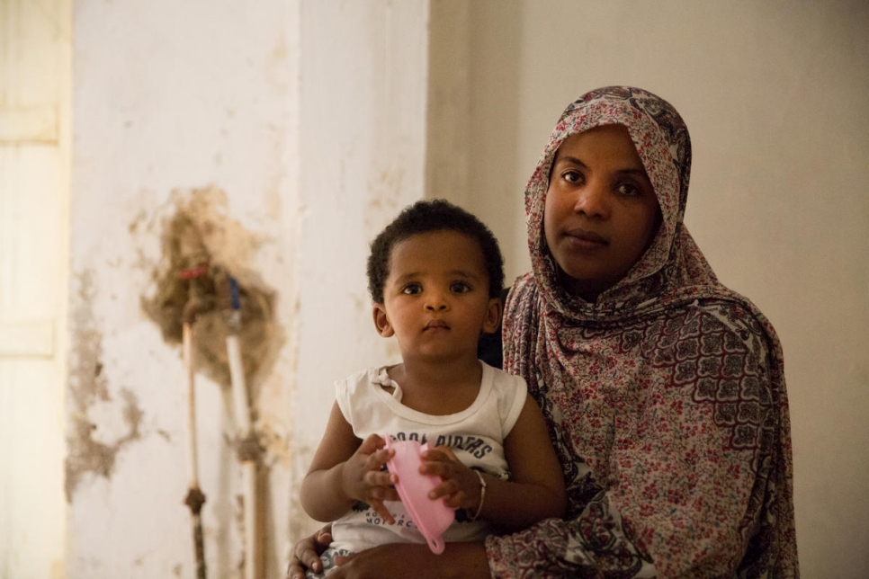 Libya. Sudanese caregiver hosts fellow refugees through UNHCR programme