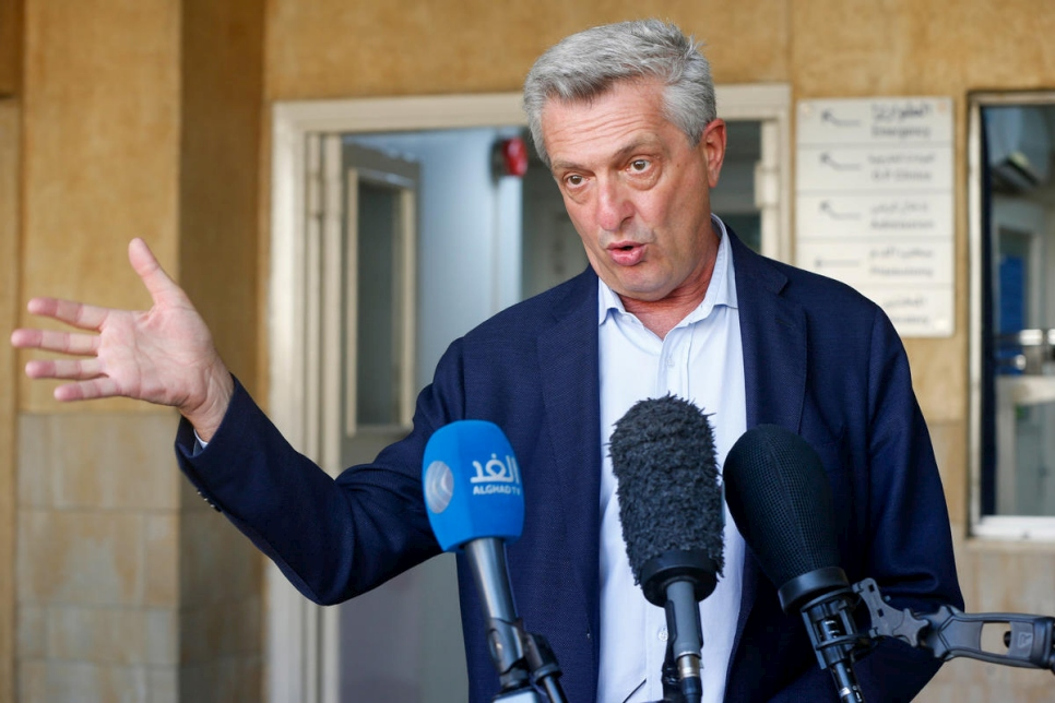 Jordan. The UN High Commissioner for Refugees, Filippo Grandi's visit