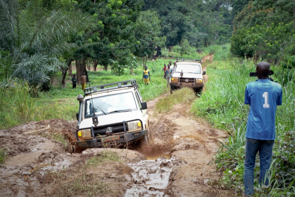 UNHCR vehicles navigate roads to reach refugees from the Democratic Republic of Congo in the village of Toko Kota in the Central African Republic.