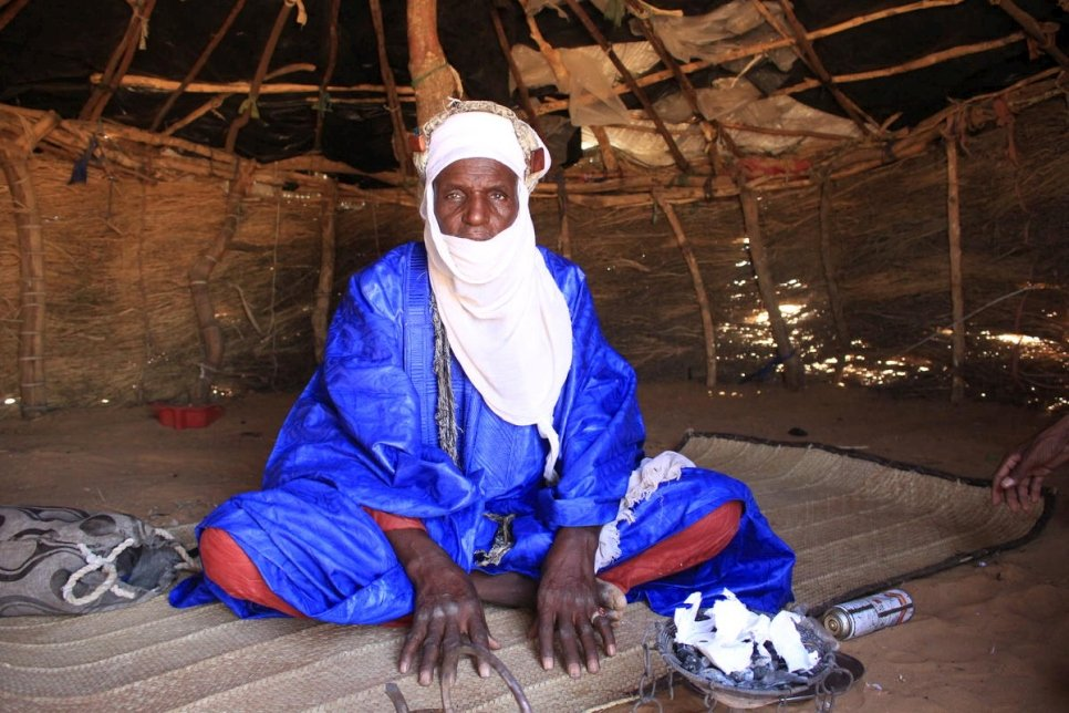 Niger. A displaced pastoralist in his shelter at an IDP site in Tahoua region